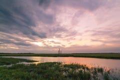 Il tramonto lungo dell'esposizione ha sparato nella baia Sri Lanka di Arugam immagine stock