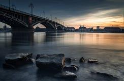 Il tramonto a Mainz, Germania, Immagine Stock