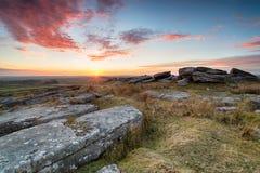 Il tramonto sopra Bodmin attracca Fotografia Stock Libera da Diritti
