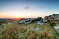 Il tramonto sopra Bodmin attracca Immagine Stock