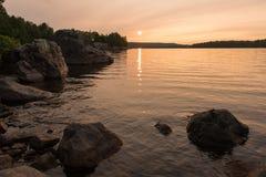 Il tramonto sul lago Quirke Fotografie Stock