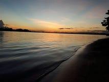Il tramonto sull'isola del fuoco fotografie stock libere da diritti