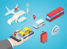Il trasferimento di aeroporto, vector l'illustrazione isometrica 3D Chiami il taxi o compri il biglietto di bus della navetta onl illustrazione vettoriale