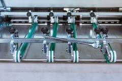Il trasferimento di carta della piegatrice spinge i rulli che costruiscono Machin Immagini Stock