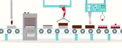 Il trasportatore per la produzione dei dolci con le ciliege Immagini Stock