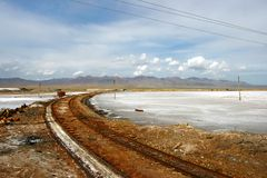 Il trasporto in Caka Salt Lake Fotografie Stock Libere da Diritti