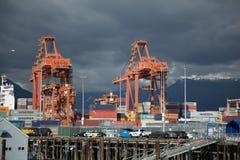 Il trasporto contiene il bacino del mare del cantiere navale delle gru Fotografia Stock
