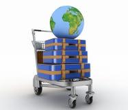 Il trasporto di terra e le valigie su trasporto accendono il carretto Fotografia Stock Libera da Diritti