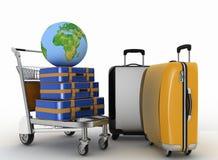Il trasporto di terra e le valigie su trasporto accendono il carretto Fotografie Stock