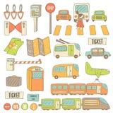 Il trasporto disegnato a mano sveglio di scarabocchio obietta la raccolta Fotografia Stock