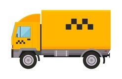 Il trasporto giallo dell'automobile dell'illustrazione di taxi truck van vector ha isolato il passeggero di simbolo dell'icona di Fotografia Stock