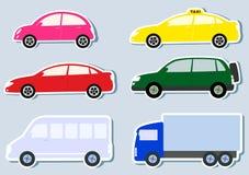 Il trasporto ha impostato con la siluetta variopinta delle automobili Fotografia Stock Libera da Diritti