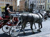Il trasporto ha tirato dai cavalli sulla via di Praga Fotografie Stock Libere da Diritti