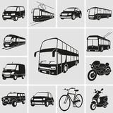 Il trasporto urbano ha dettagliato le icone messe Illustrazione Vettoriale
