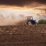 Il trattore ara un campo in primavera contro un bello cielo del tramonto Fotografie Stock