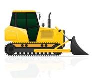 Il trattore a cingoli con i sedili anteriori del secchio vector l'illustrazione Fotografie Stock Libere da Diritti
