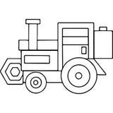 Il trattore scherza le figure geometriche che colorano la pagina Immagine Stock