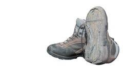 Il trekking calza rotto dopo uso intensivo (isolato) Fotografia Stock Libera da Diritti