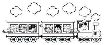 Il treno con i bambini sta andando in viaggio Fotografia Stock
