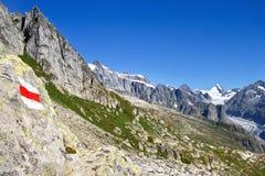 Il treno da Eggishorn e la vista del ghiacciaio di Aletsch e Fotografia Stock Libera da Diritti