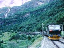 Il treno da Flam va a Myrdal Fotografia Stock Libera da Diritti
