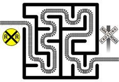 Il treno della soluzione del labirinto della ferrovia segue i segni dell'incrocio illustrazione vettoriale