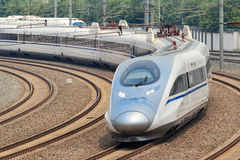Il treno di pallottola parte da Pechino, Cina Fotografie Stock