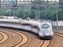 Il treno di pallottola parte da Pechino, Cina Fotografie Stock Libere da Diritti