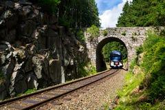 Il treno ferroviario della società di trasportatore del CD drahy di Ceske passa sotto il ponte di pietra romantico in bella fores Fotografia Stock