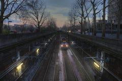 Il treno nel tunnel Fotografie Stock