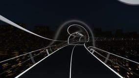 Il treno passeggeri ad alta velocità si muove in un tunnel di vetro video d archivio