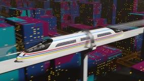 Il treno passeggeri ad alta velocità si muove in un tunnel di vetro archivi video