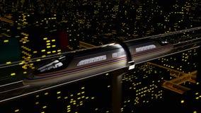 Il treno passeggeri ad alta velocità si muove in un tunnel di vetro stock footage
