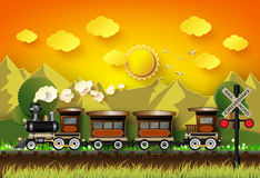 Il treno stava correndo sulle rotaie royalty illustrazione gratis
