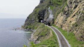 Il treno a vapore va dal tunnel archivi video