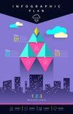 Il triangolo grafico di affari di informazioni di vettore saetta in alto il piano illustrazione di stock