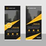 Il triangolo nero giallo rotola sulla progettazione dell'insegna dell'aletta di filatoio dell'opuscolo di affari, fondo geometric Fotografie Stock