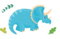 Il triceratopo del dinosauro del fumetto vector il predatore preistorico animale del rettile del carattere di Dino del mostro iso Fotografia Stock