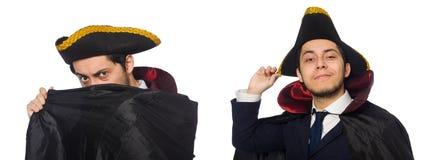 Il tricorno d'uso ed il cappotto del giovane isolati su bianco fotografie stock libere da diritti