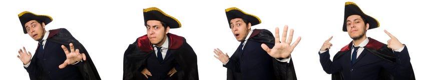 Il tricorno d'uso ed il cappotto del giovane isolati su bianco fotografia stock libera da diritti