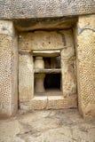 Il trilithon principale al tempio del sud delle tempie di Mnajdra, m. Fotografia Stock