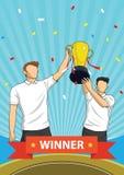 Il trofeo mette in mostra i premi e la gente del gruppo del vincitore che ostacola un premio Illustrazione di Stock