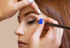 Il truccatore applica il trucco e fa l'eye-liner con una spazzola professionale in un salone di bellezza immagini stock libere da diritti