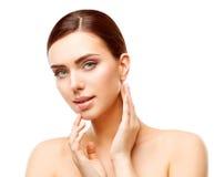 Il trucco di bellezza della donna, fronte naturale compone, cura di pelle del corpo fotografie stock libere da diritti