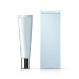 Il tubo cosmetico di crema ed il pacchetto inscatolano il modello, progettazione realistica Fotografia Stock Libera da Diritti