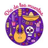 Il tubo del cranio della chitarra di Dia de los Muertos Halloween fiorisce le margherite del cactus Immagini Stock Libere da Diritti