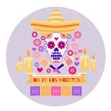Il tubo del cranio della chitarra di Dia de los Muertos Halloween fiorisce le margherite del cactus illustrazione vettoriale