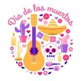 Il tubo del cranio della chitarra di Dia de los Muertos Halloween fiorisce le margherite del cactus illustrazione di stock