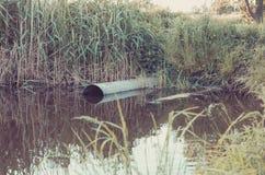 Il tubo per fognatura versa fuori al concetto ecologia/del lago: Scorrimento dell'acqua residuo dalla tubatura dell'acqua nel lag immagini stock