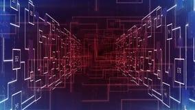 Il tunnel astratto del circuito elettronico zumma il CICLO del fondo stock footage